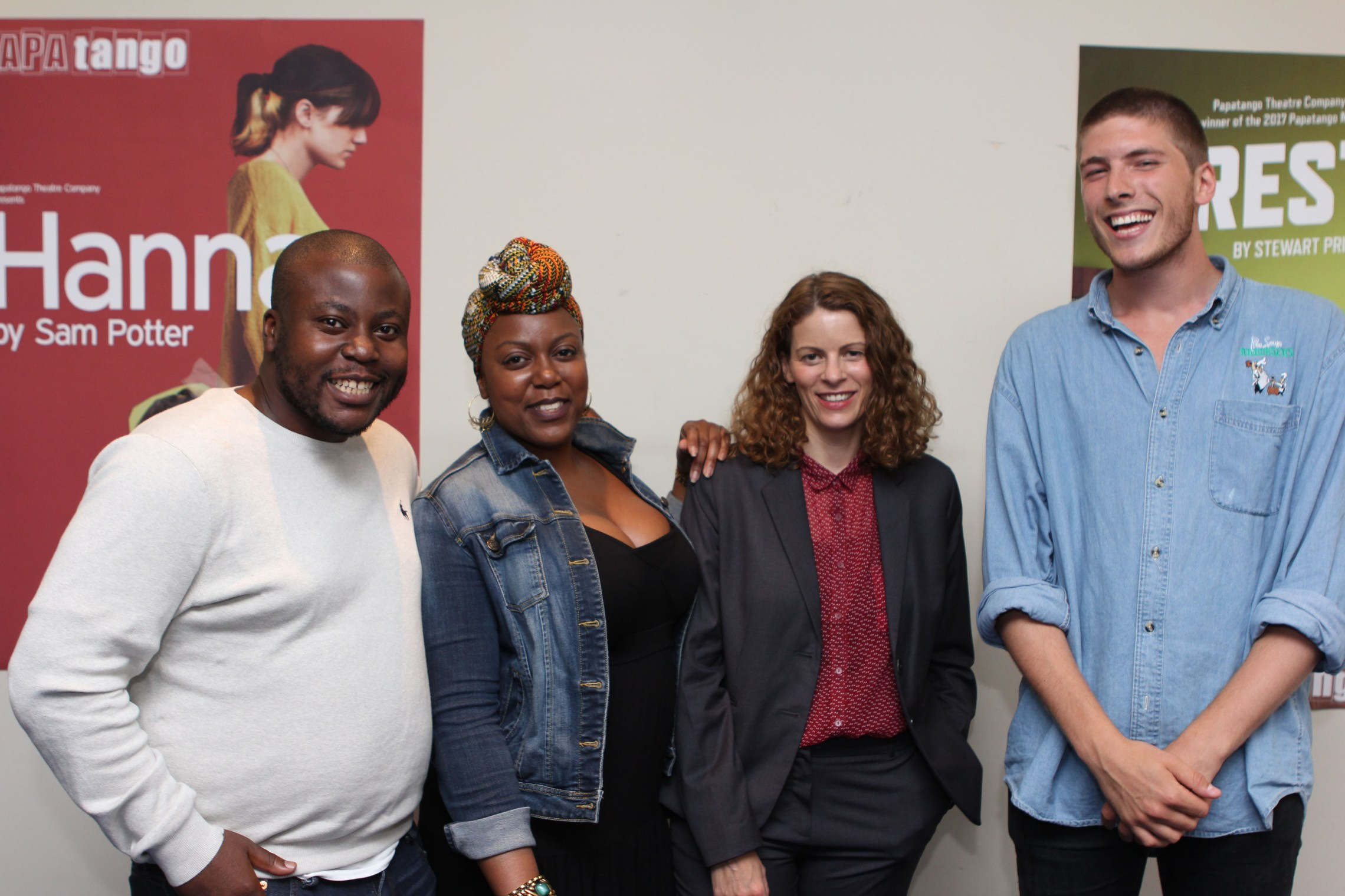 Three-former-Resident-Playwrights-May-Sumbwanyambe-Sam-Potter-and-Sam-Grabiner-with-new-Resident-Playwright-Dara-Aiyegbayo-second-from-left-Photo-credit-Adam-Bennett